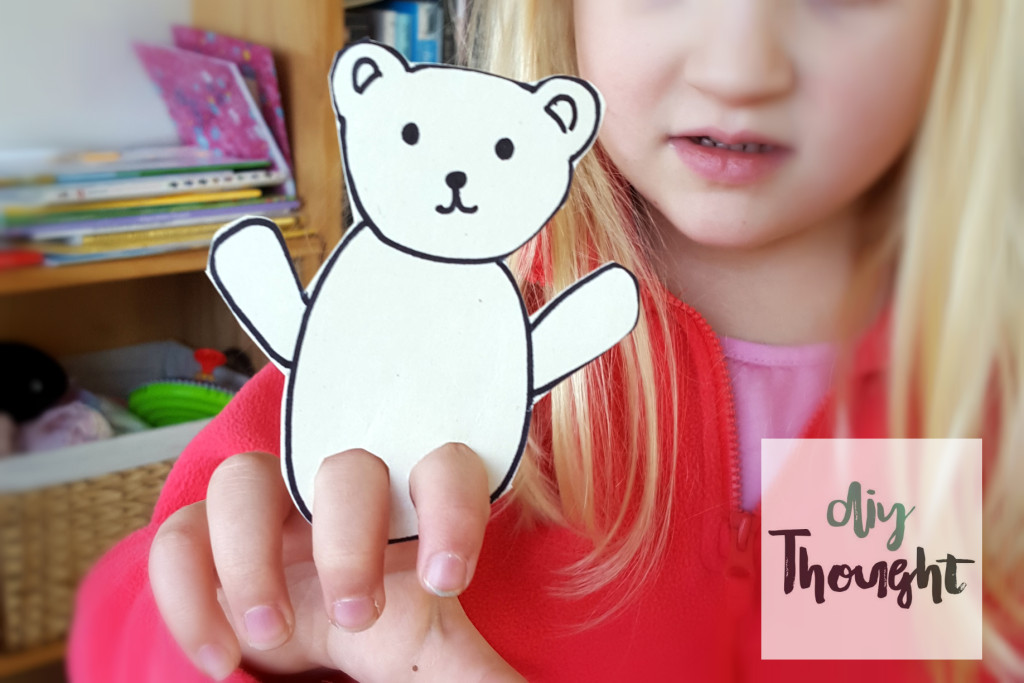 cardboard finger pupper bear