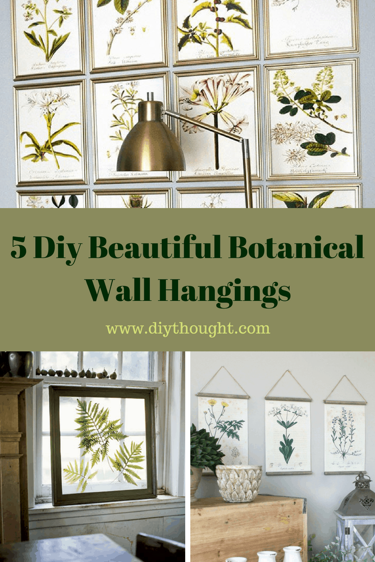 5 botanical wall hangings