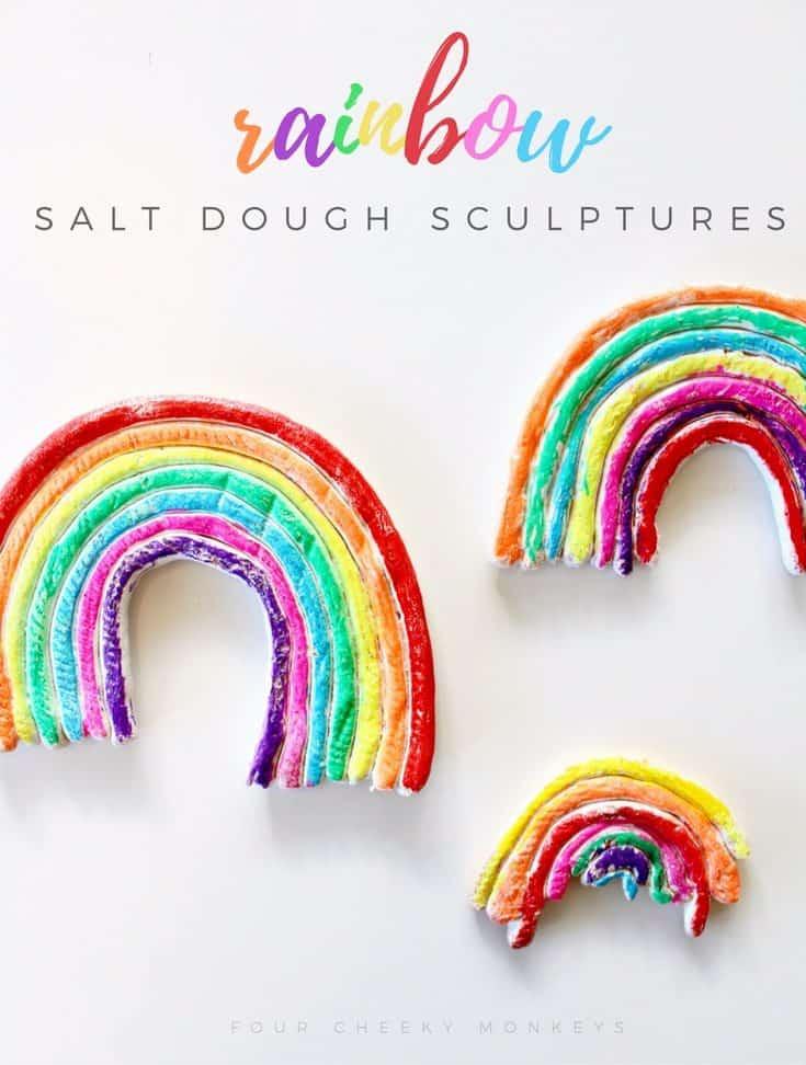 Salt dough rainbow sculptures