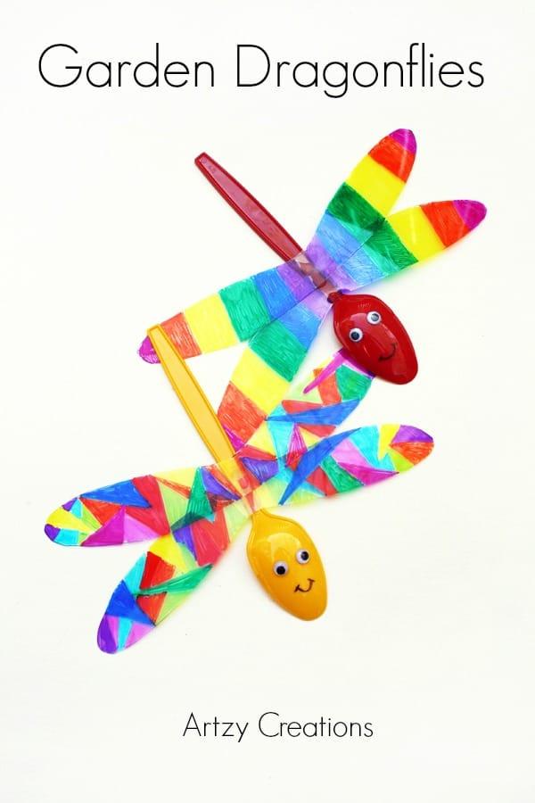 colorful plastic spoon dragonflies