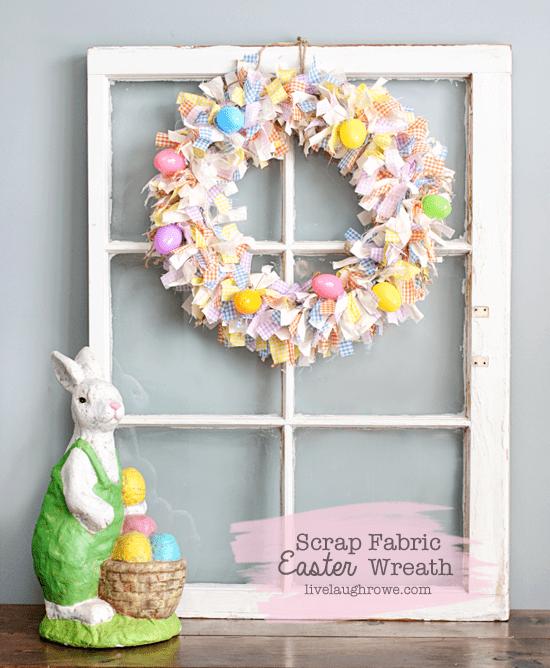 scrap fabric easter wreath
