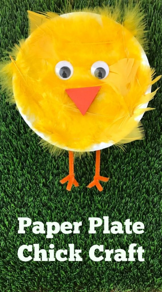 paper plate feather chick craft