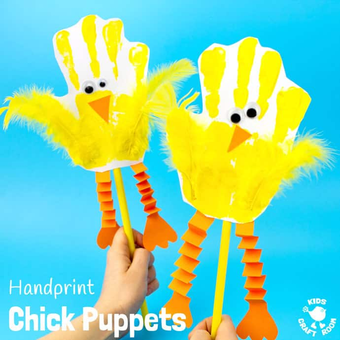 hand print chick puppets