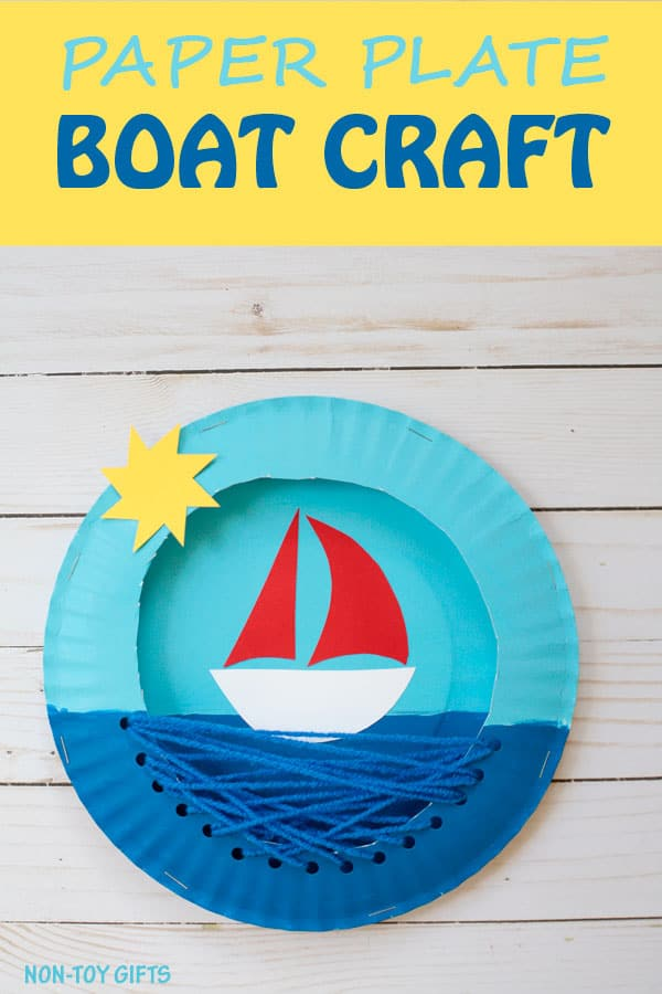 paper plate threading boat craft