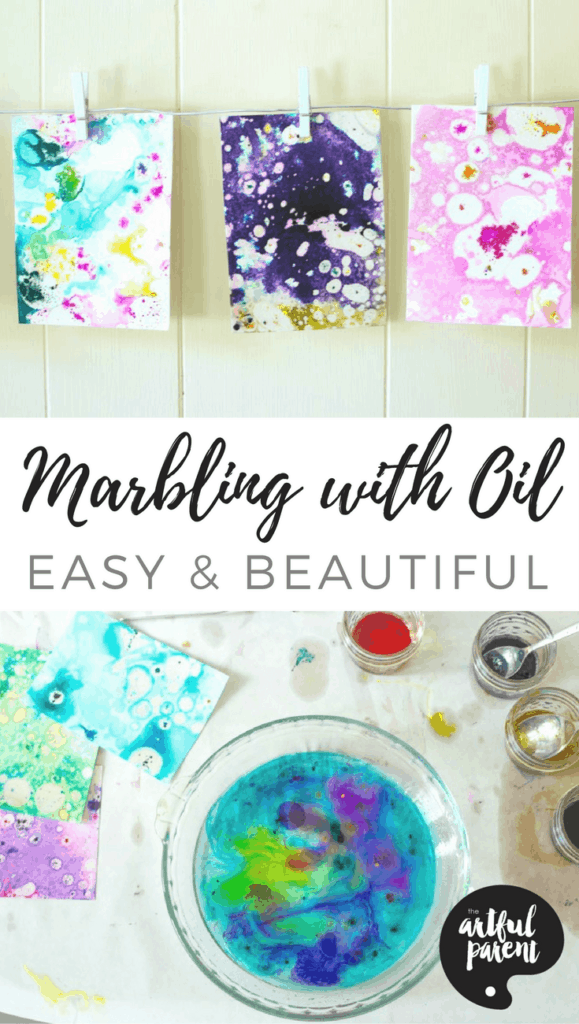 marbling painting with oil