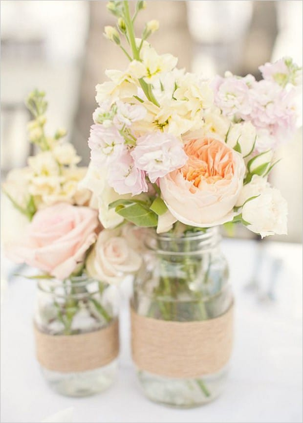 twine mason jar for a country wedding table display