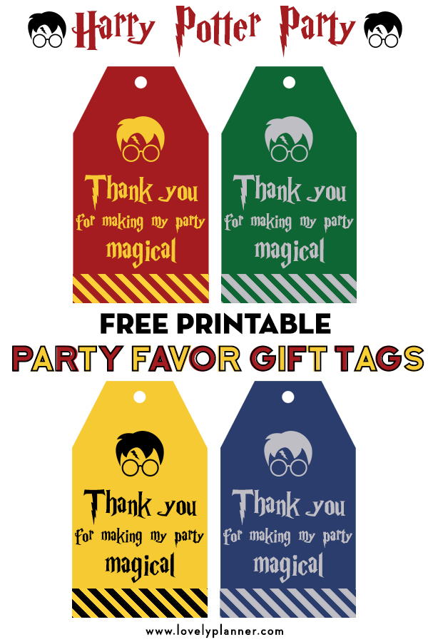 Harry Potter Party Favor Tags Free
