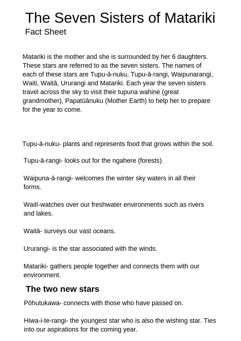 Matariki Fact Sheet