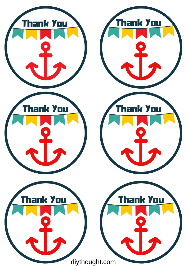 Thank You anchor party printable label