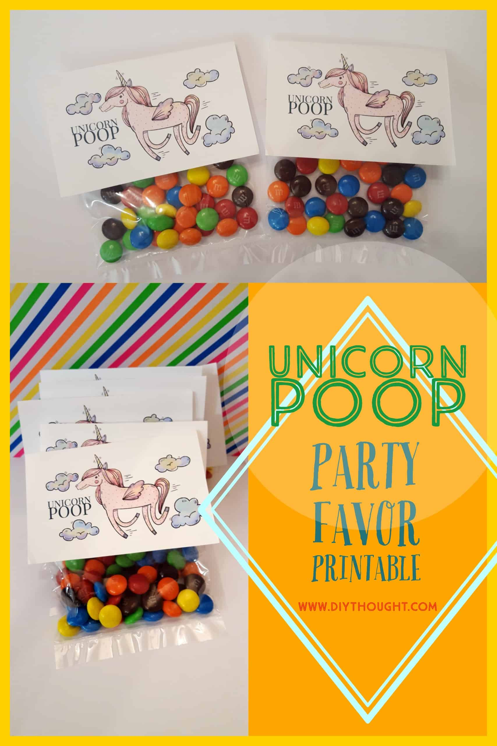 unicorn poop free party favor label