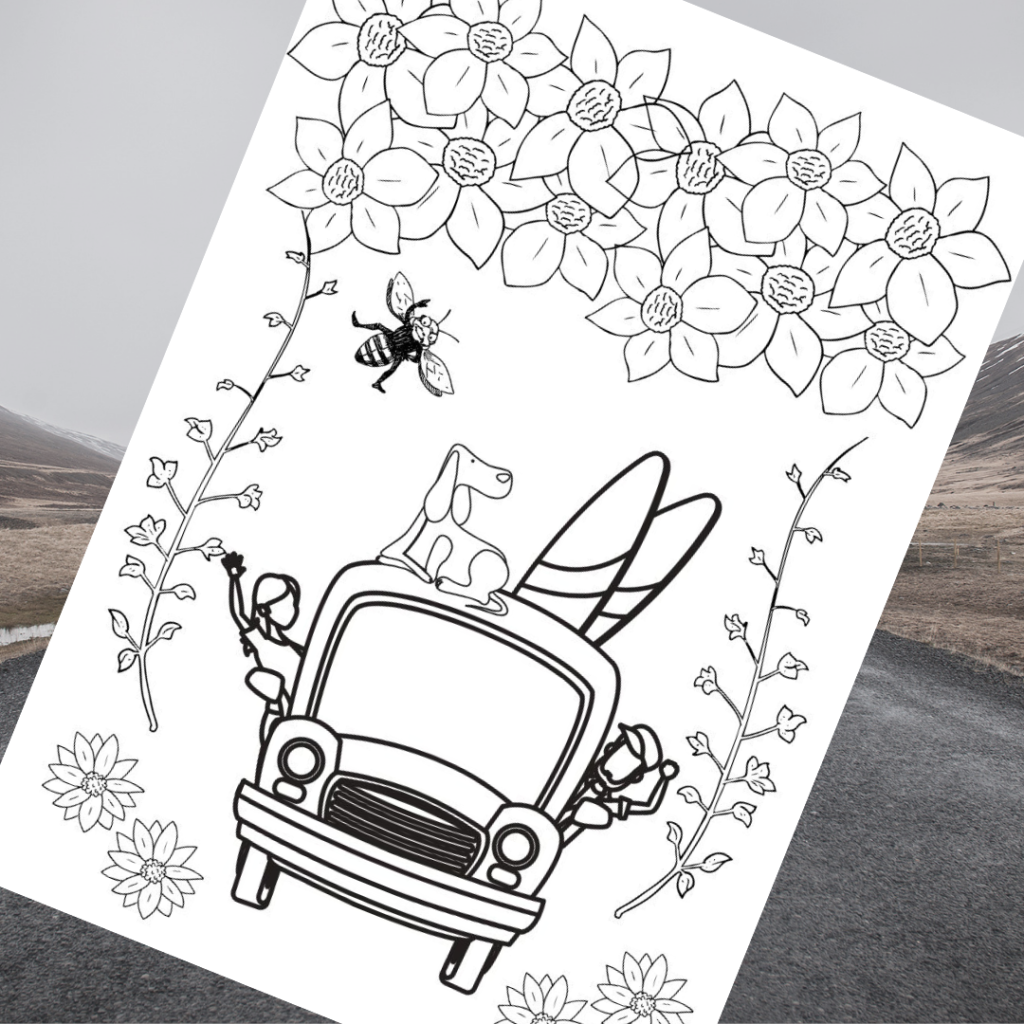 Free road trip coloring page