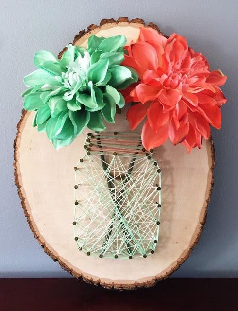 wood slice flower string art