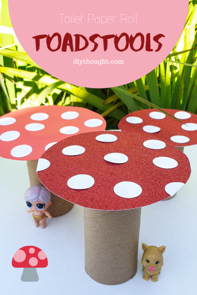 DIY toilet paper roll toadstools