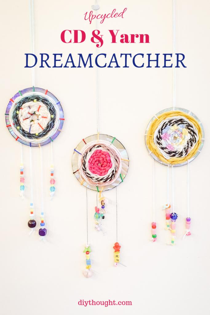 upcycled CD & yarn dreamcatcher