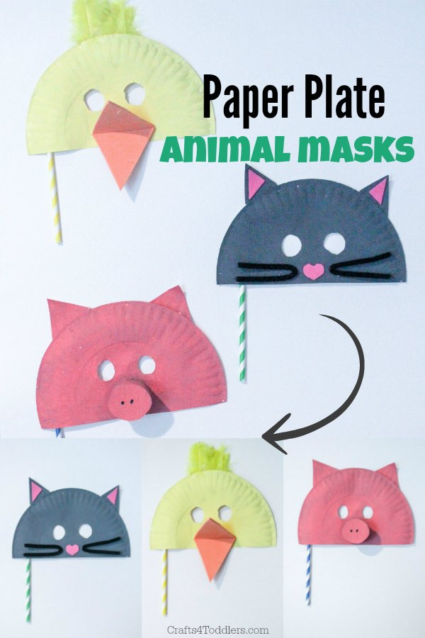 paper plate animal masks. Pig, cat, duck.