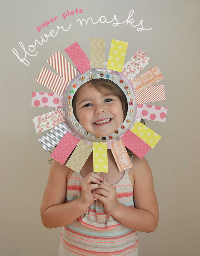 flower paper plate face mask craft