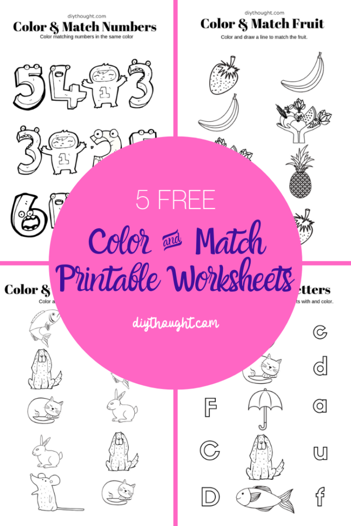 free color and match printable worksheets.