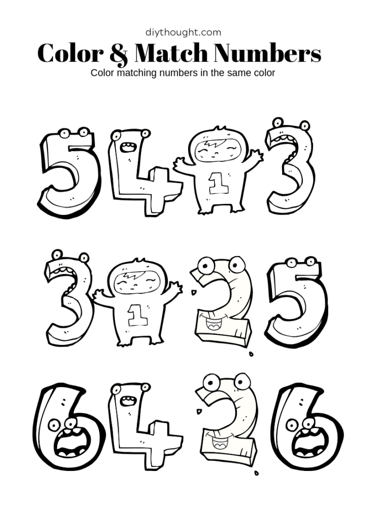 monster number color and match worksheet. Free printable.