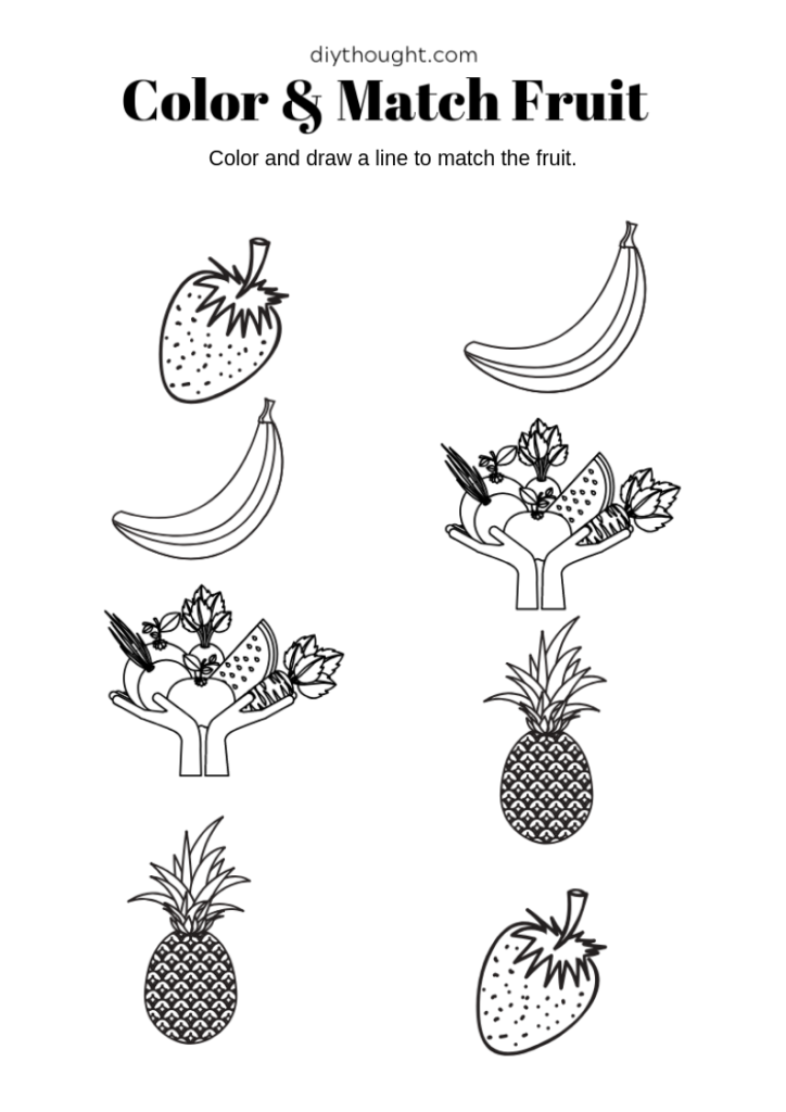 preschool fruit matching and color worksheet.