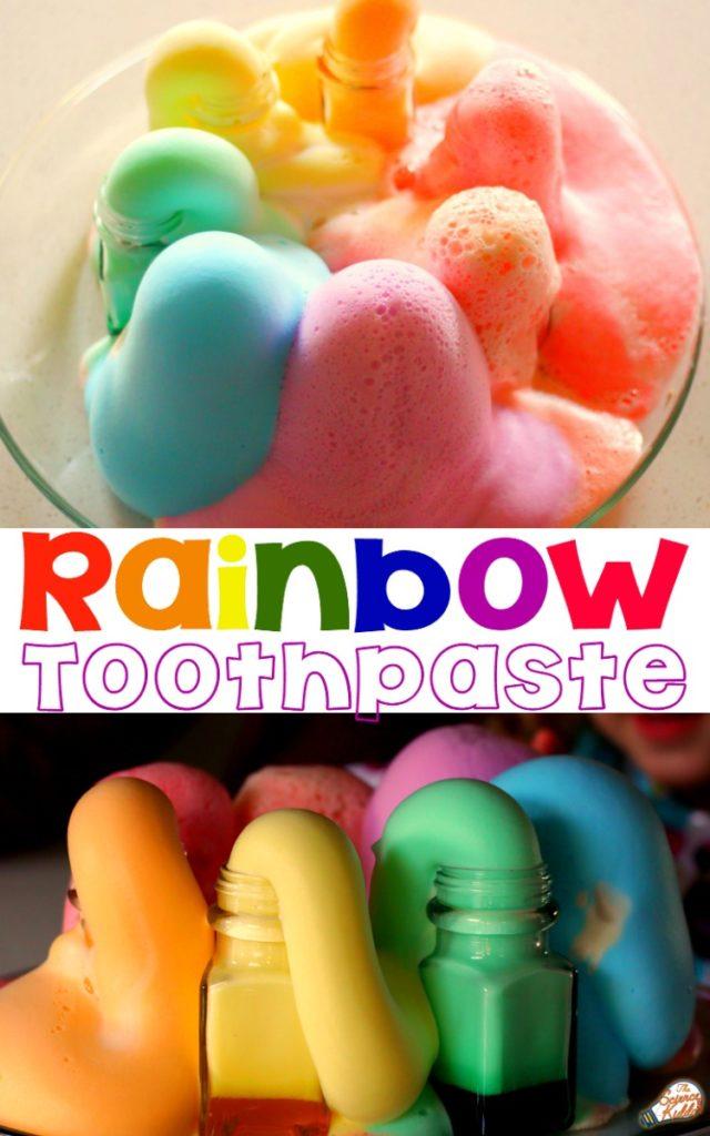 unicorn rainbow toothpaste science