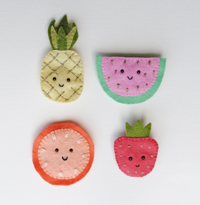 felt fruit brooches