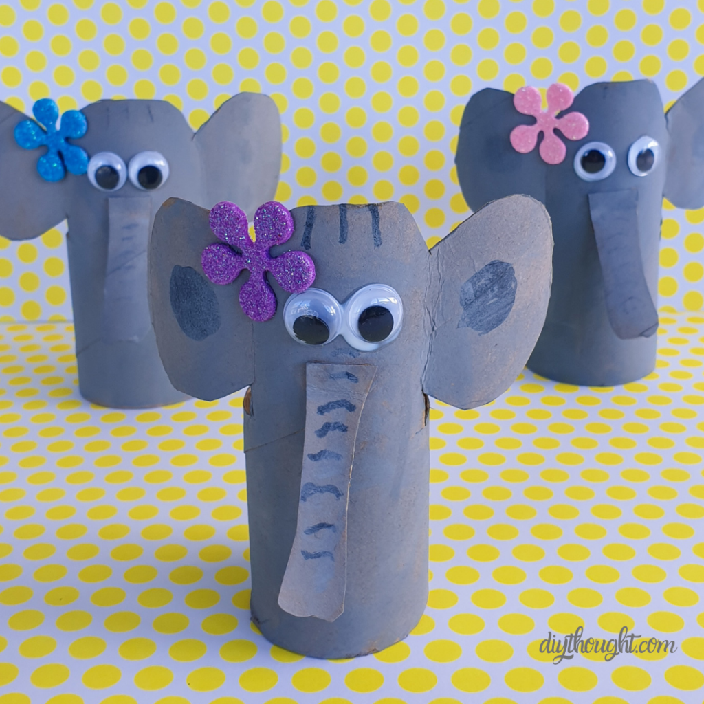 DIY toilet roll elephants