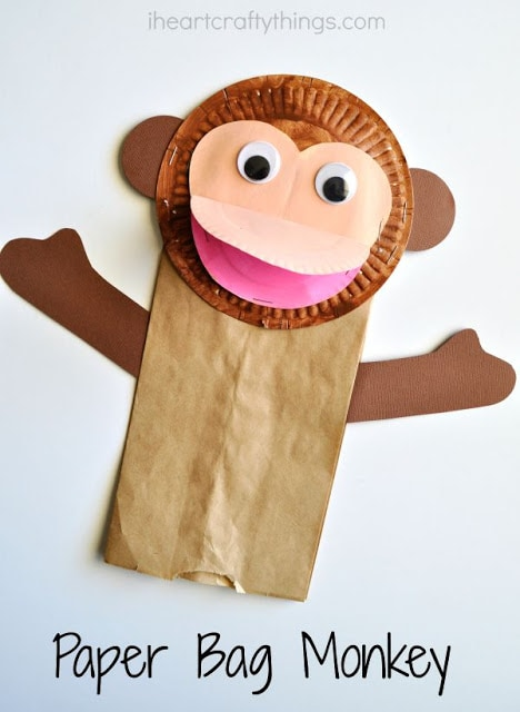 paper bag and paper plate monkey