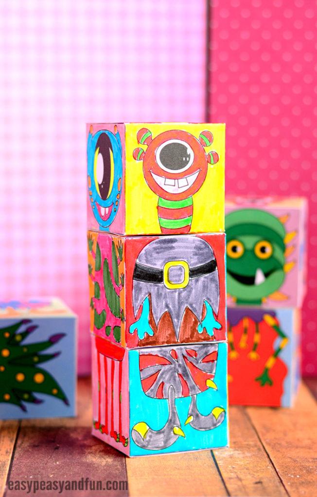printable monster mix & match cubes