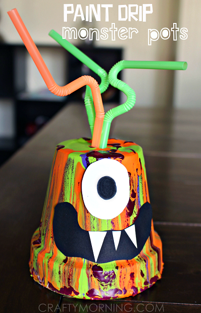 paint drip monster pots