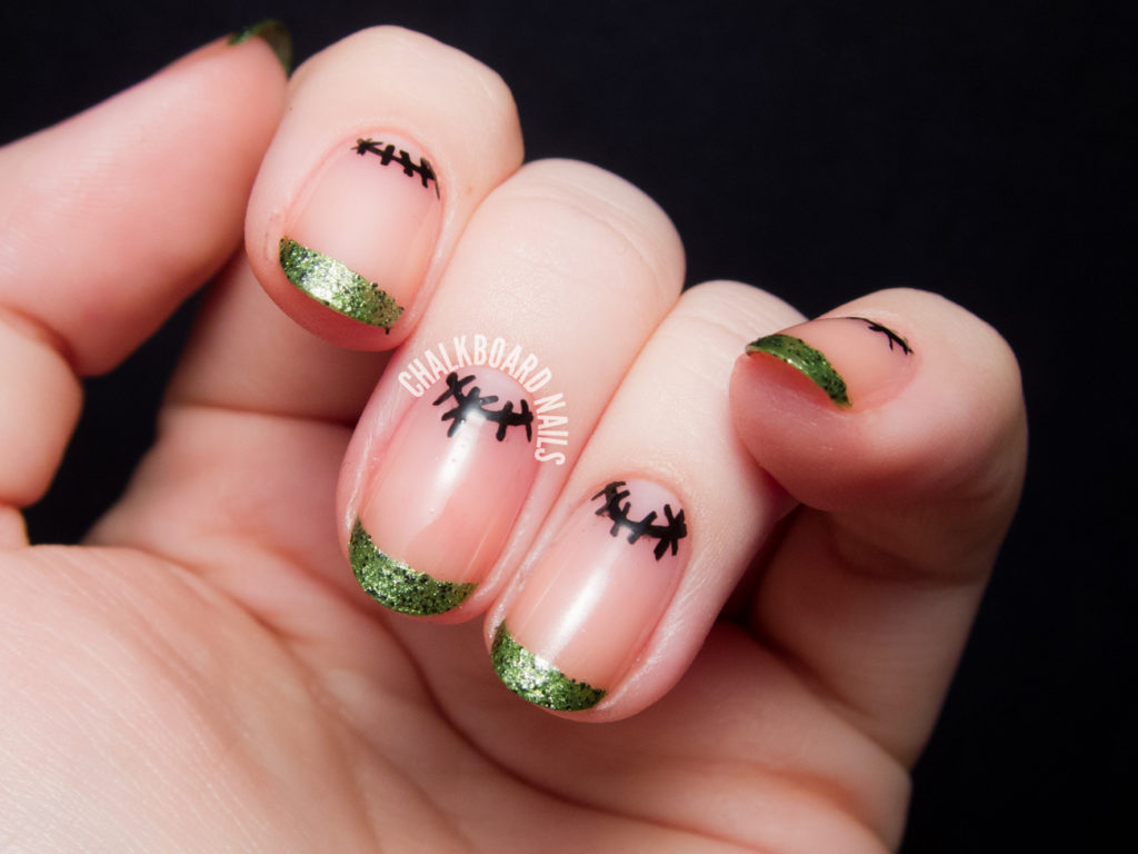 Frankenstein French and Simple Stitched Moons nail art