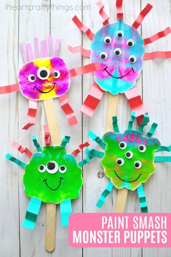 paint smash monster puppets