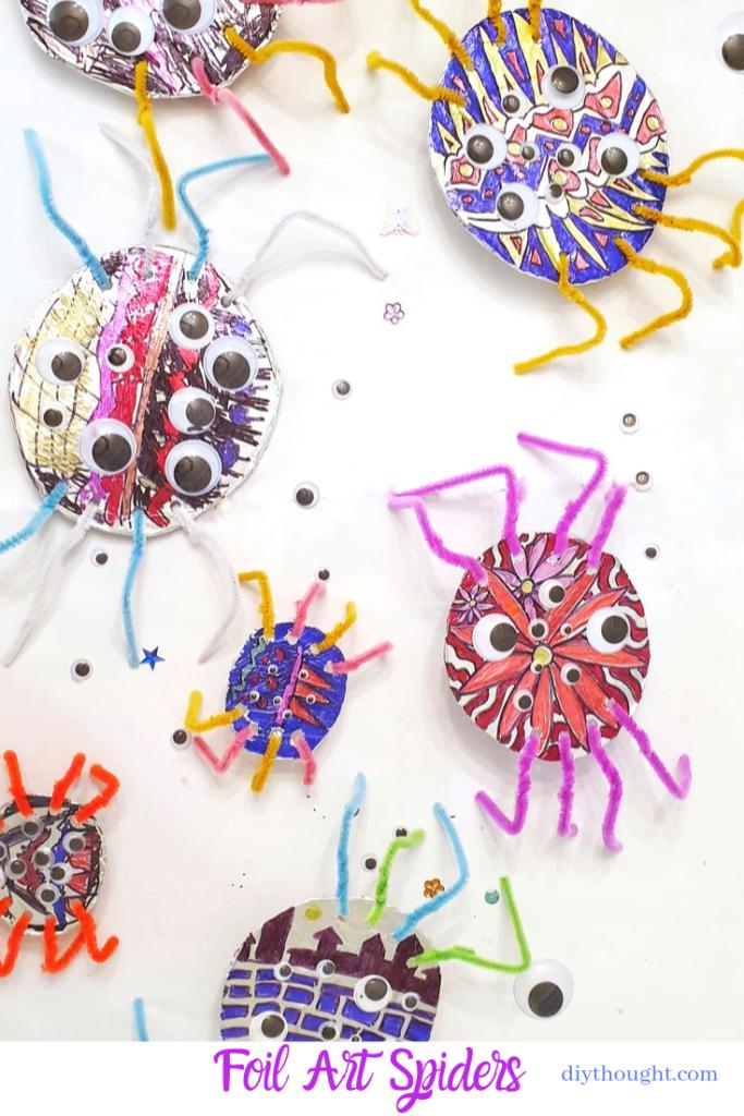 foil art spiders
