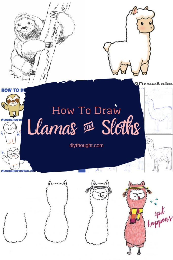 how to draw llamas & sloths