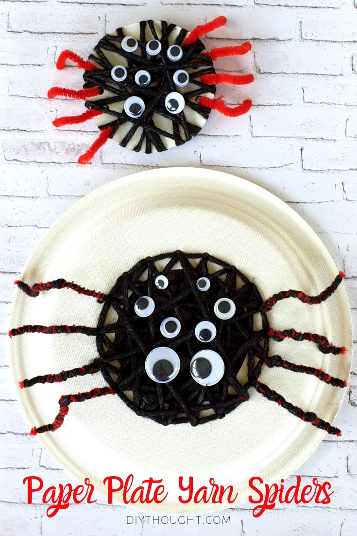 Threading and yarn wrapped spider craft