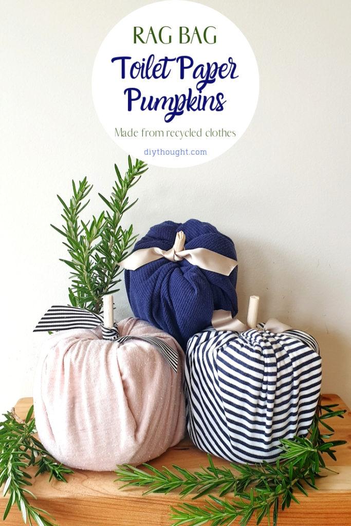 Rag bag toilet paper pumpkin craft
