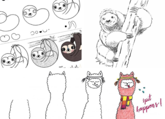llama and sloth drawing tutorials