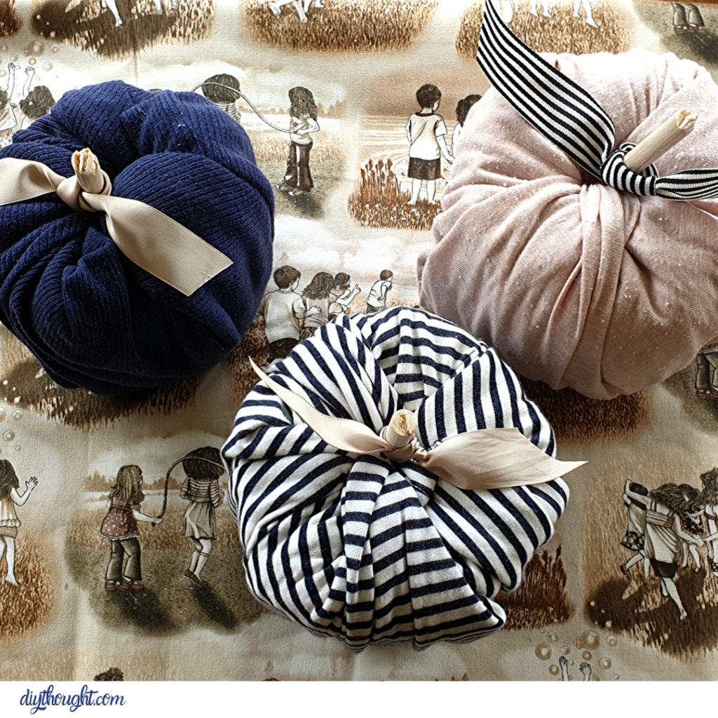 scrap fabric toilet paper pumpkins