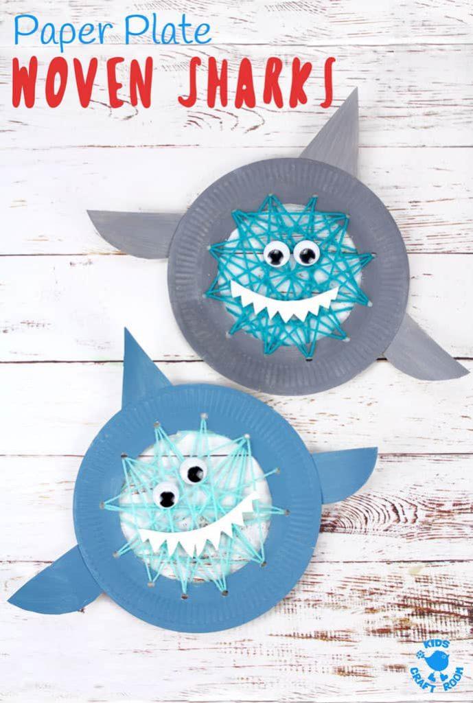woven paper plate sharks