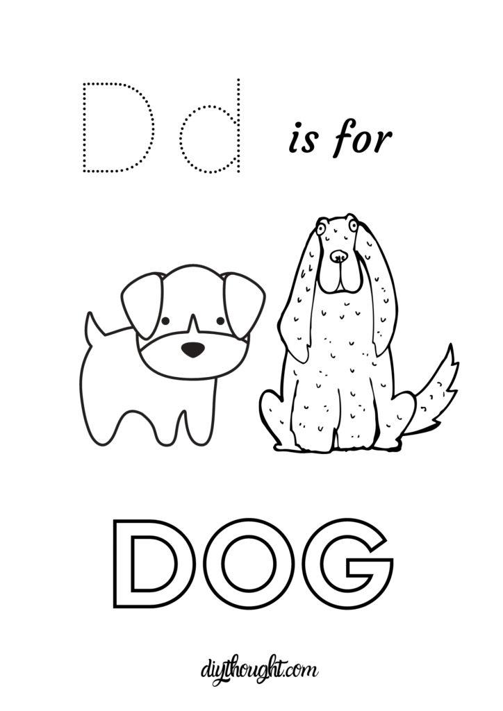 d is for dog printable worksheet