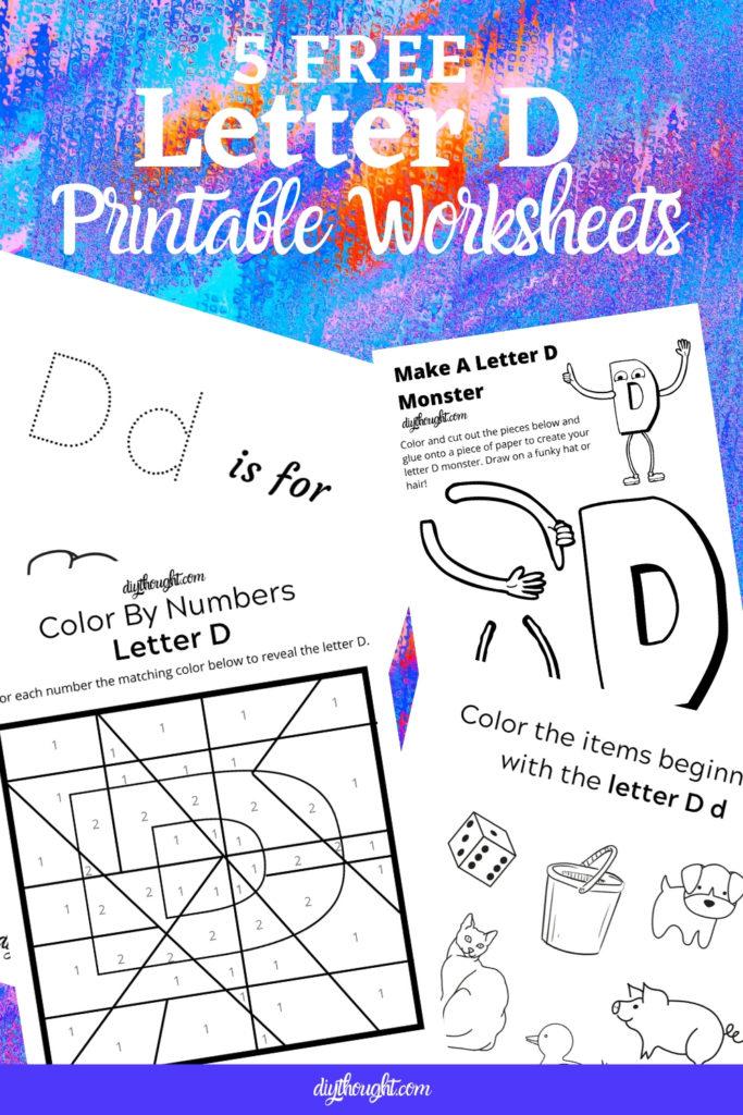 5 free letter D printable worksheets