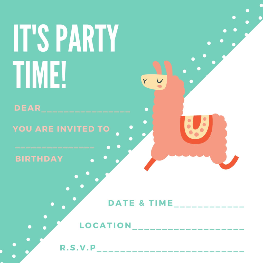 free printable llama birthday invite