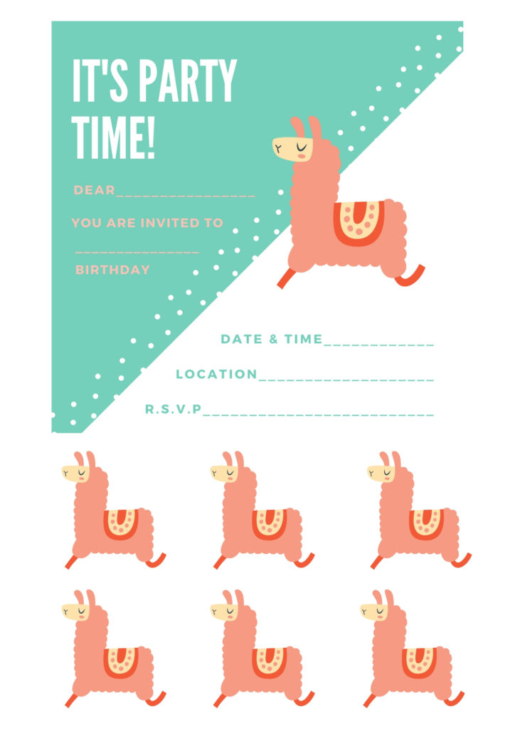 llama party invite with cupcake topper printable