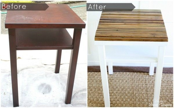 distressed wood table upcycle
