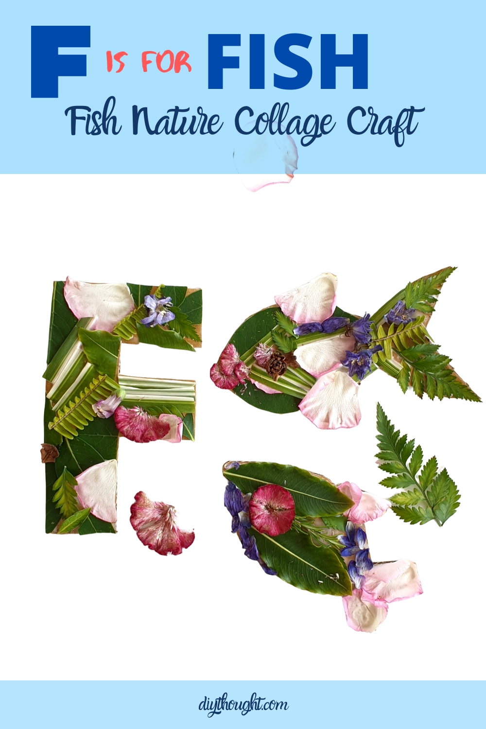 Letter F and fish nature craft