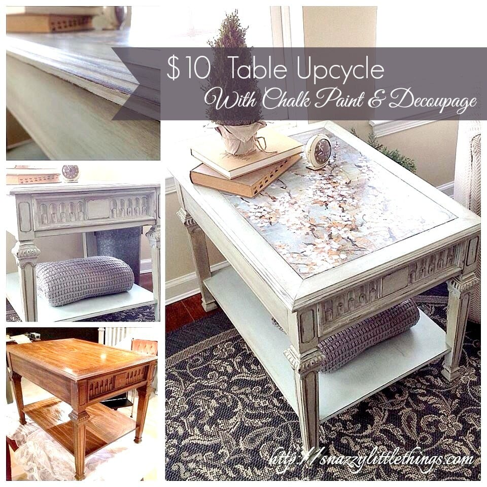 chalk paint and decoupage table upcycle