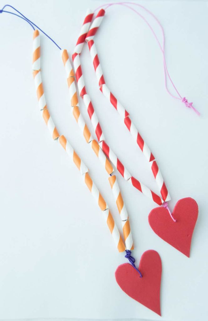 easy kids necklace heart craft