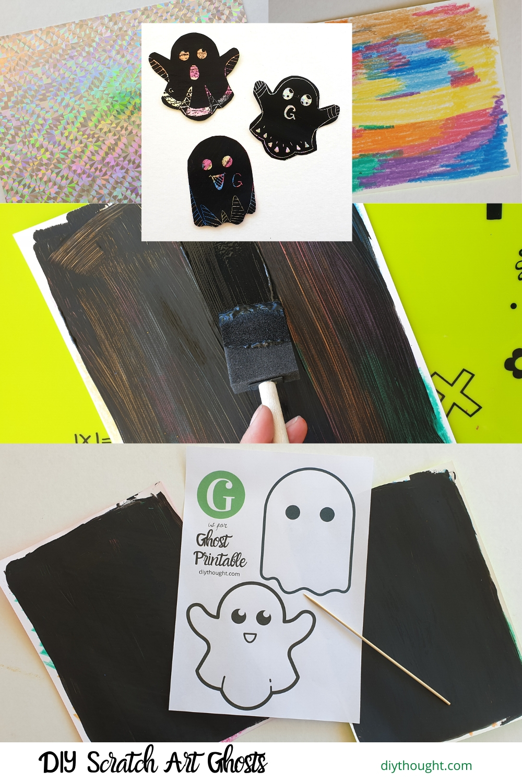 DIY scratch art ghosts. How to make scratch art.