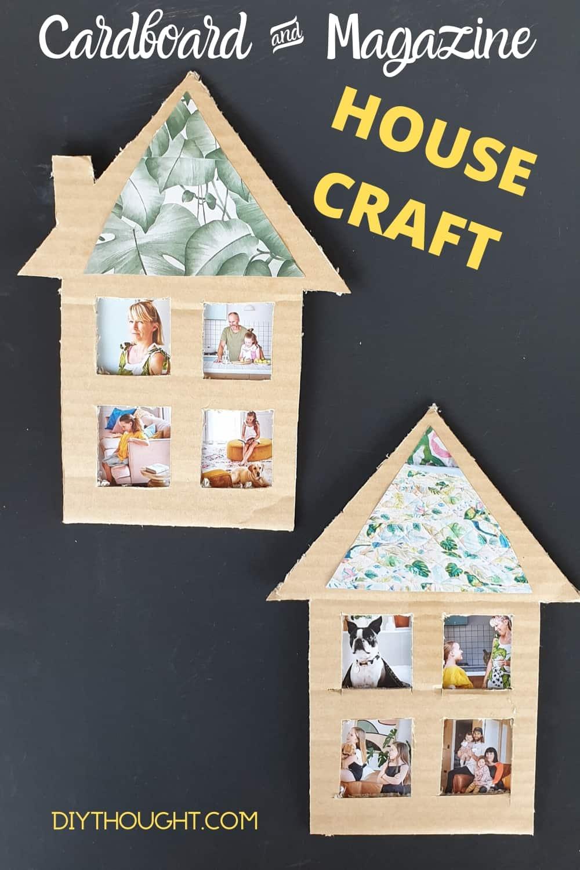 Cardboard box and magazine house craft