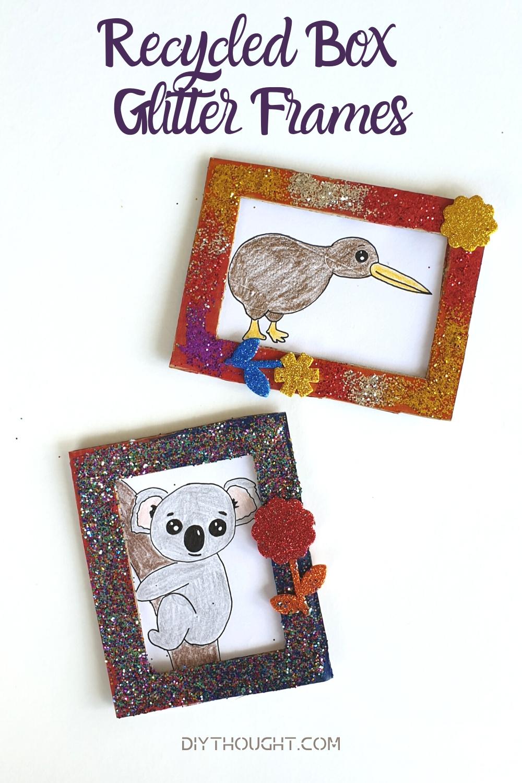 recycled box glitter frames