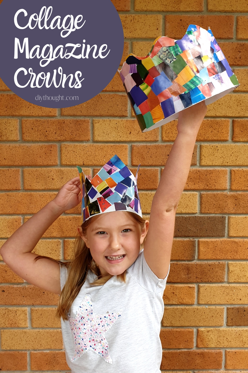 Collage magazine Crowns DIY recycled craft